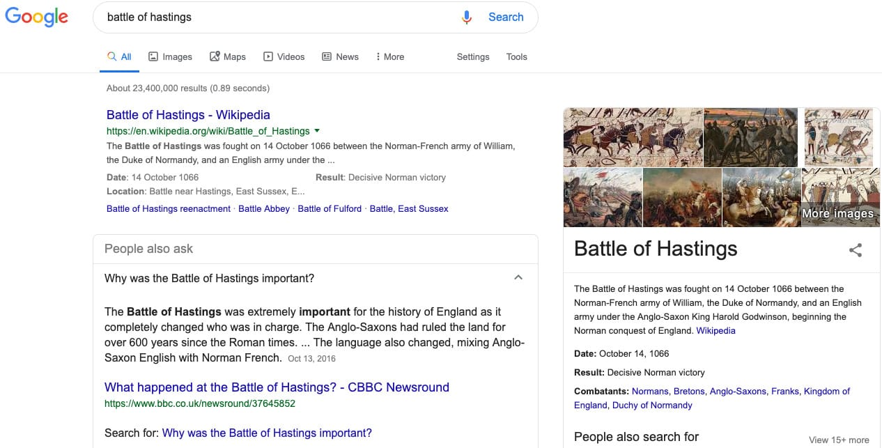 what-happened-to-meta-search-engines - 3.-battle-of-hastings-google-results